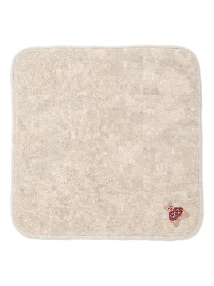 ベアモチーフ刺繍ハンドタオル(BEG-F)