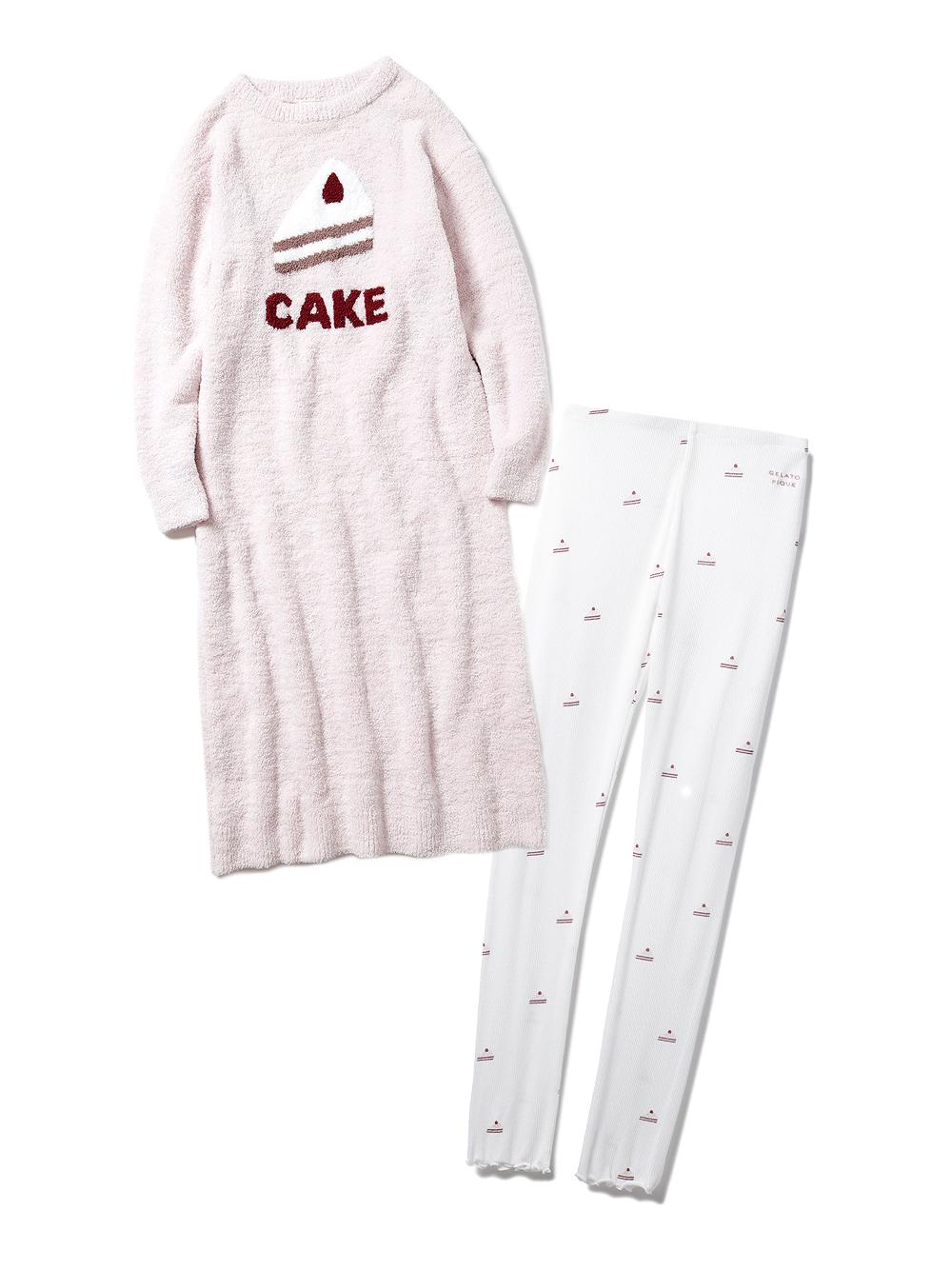 【ラッピング】パウダーデザートワンポイントドレス&ケーキ柄レギンスSET