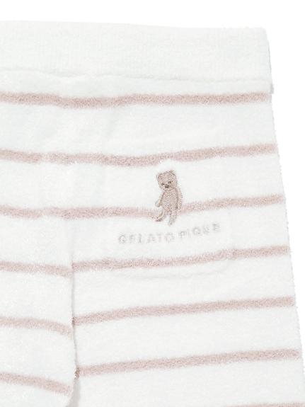 【BABY】'スムーズィー'ベア刺繍ボーダー baby ロングパンツ | PBNP211445
