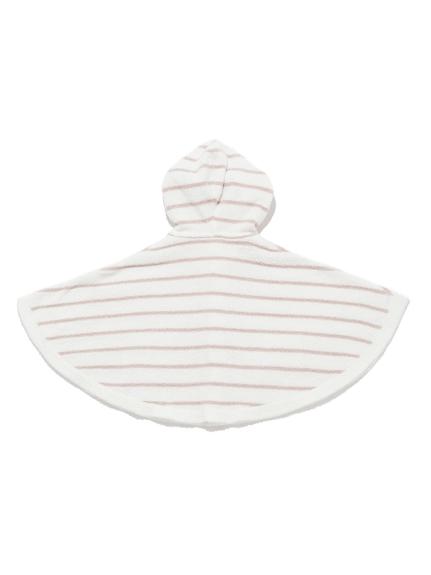 【BABY】'スムーズィー'ベア刺繍ボーダー baby ポンチョ   PBNT211444