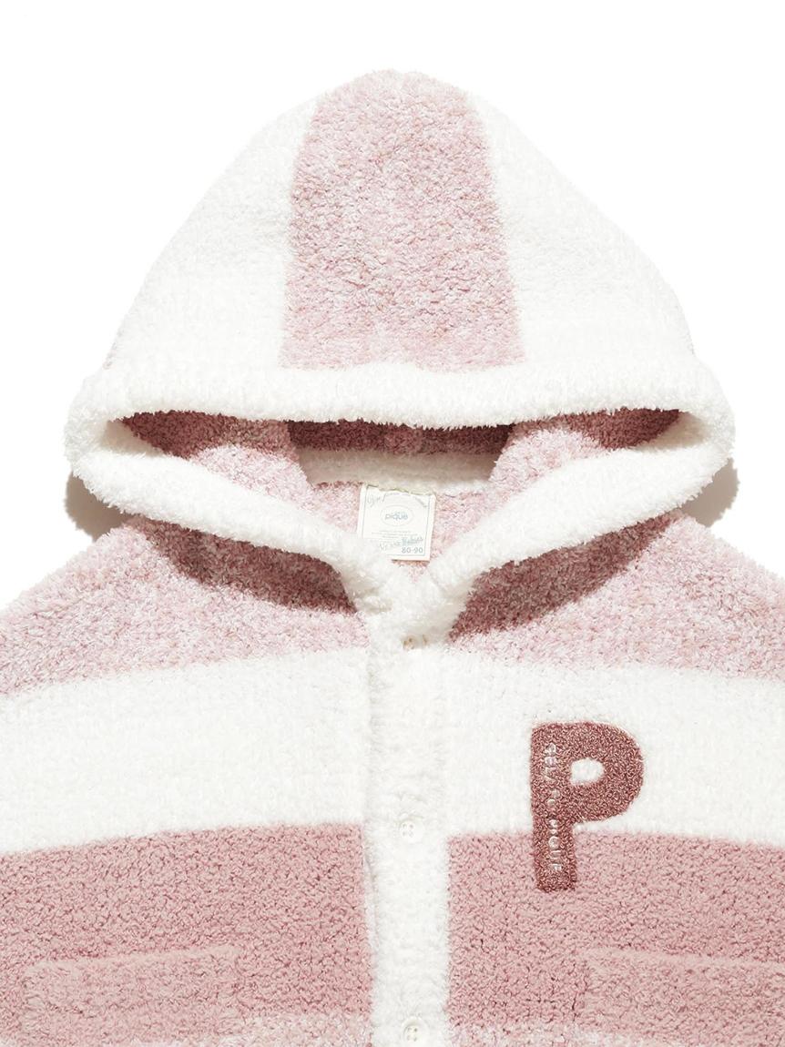 【BABY】 'ベビモコ'メランジボーダー baby ポンチョ | PBNT214443