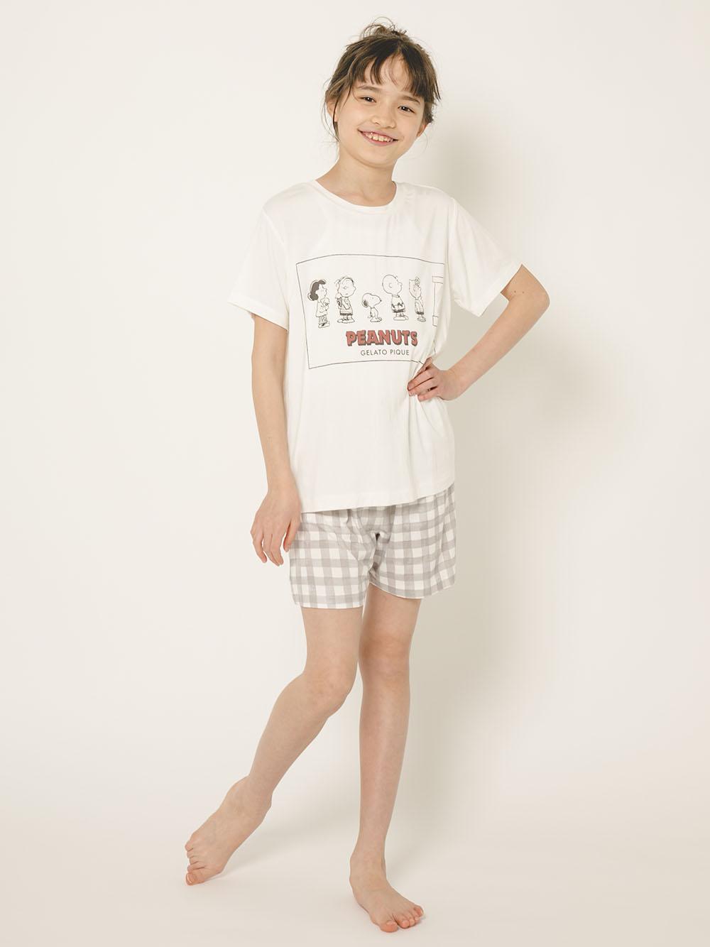 【オフィシャルオンラインストア限定】【PEANUTS】【junior】Tシャツ&ギンガムショートパンツSET | PJCT212490