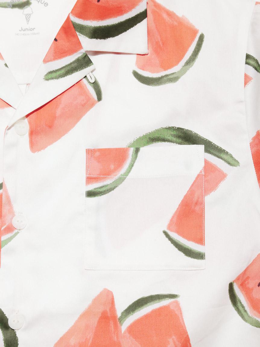 【オフィシャルオンラインストア限定】【junior】フルーツアロハ柄シャツ&ショートパンツSET | PJFT212489