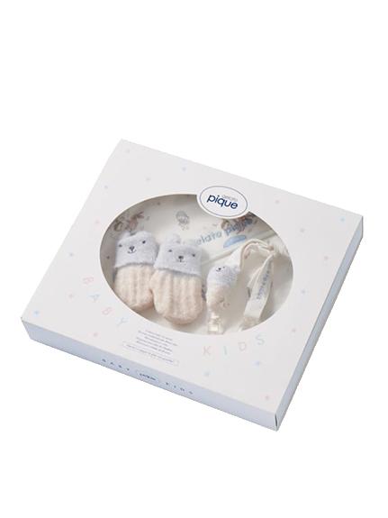 【ラッピング】【BABY】 ベビモコ'メランジボーダーブランケット&くまクッキー baby ソックスSET   PKGG219330
