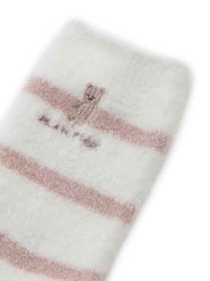【KIDS】'スムーズィー'ベア刺繍ボーダー kids ソックス | PKGS211718