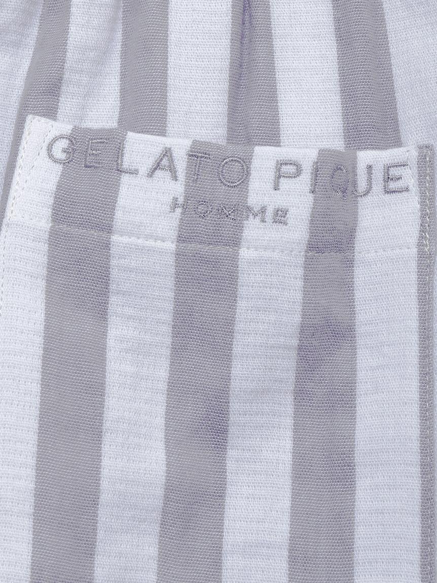 【GELATO PIQUE HOMME】 オーガニックコットンストライプロングパンツ | PMFP214909
