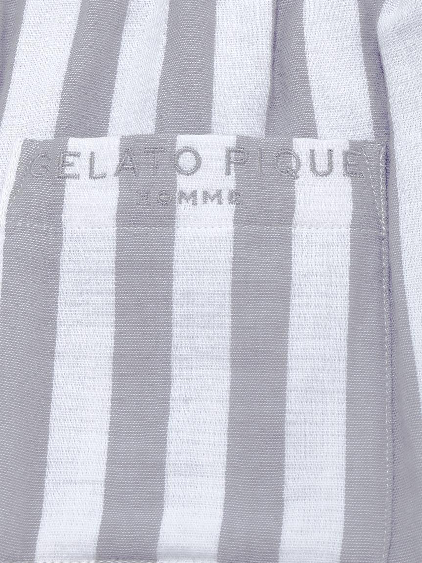 【GELATO PIQUE HOMME】 オーガニックコットンストライプハーフパンツ   PMFP214910