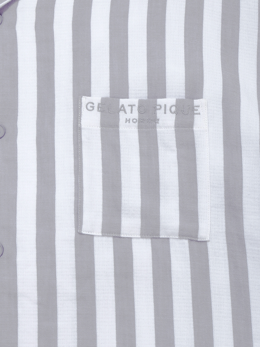 【GELATO PIQUE HOMME】 オーガニックコットンストライプシャツ | PMFT214908