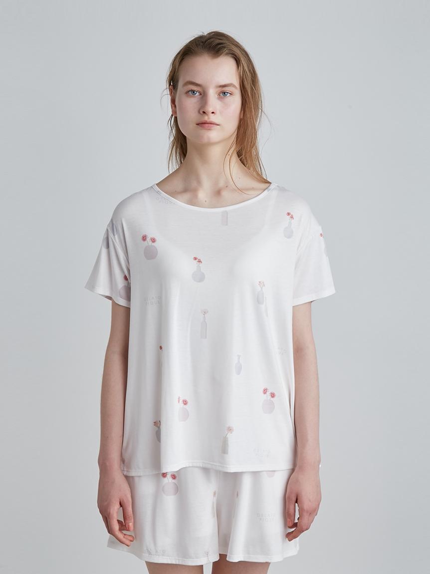 フラワーベースモチーフTシャツ | PWCT214224