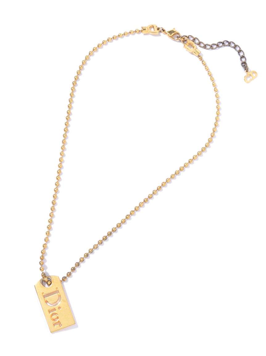Christian Diorロゴプレートネックレス