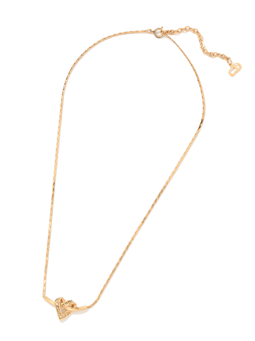 Christian Diorラインストーンハートネックレス