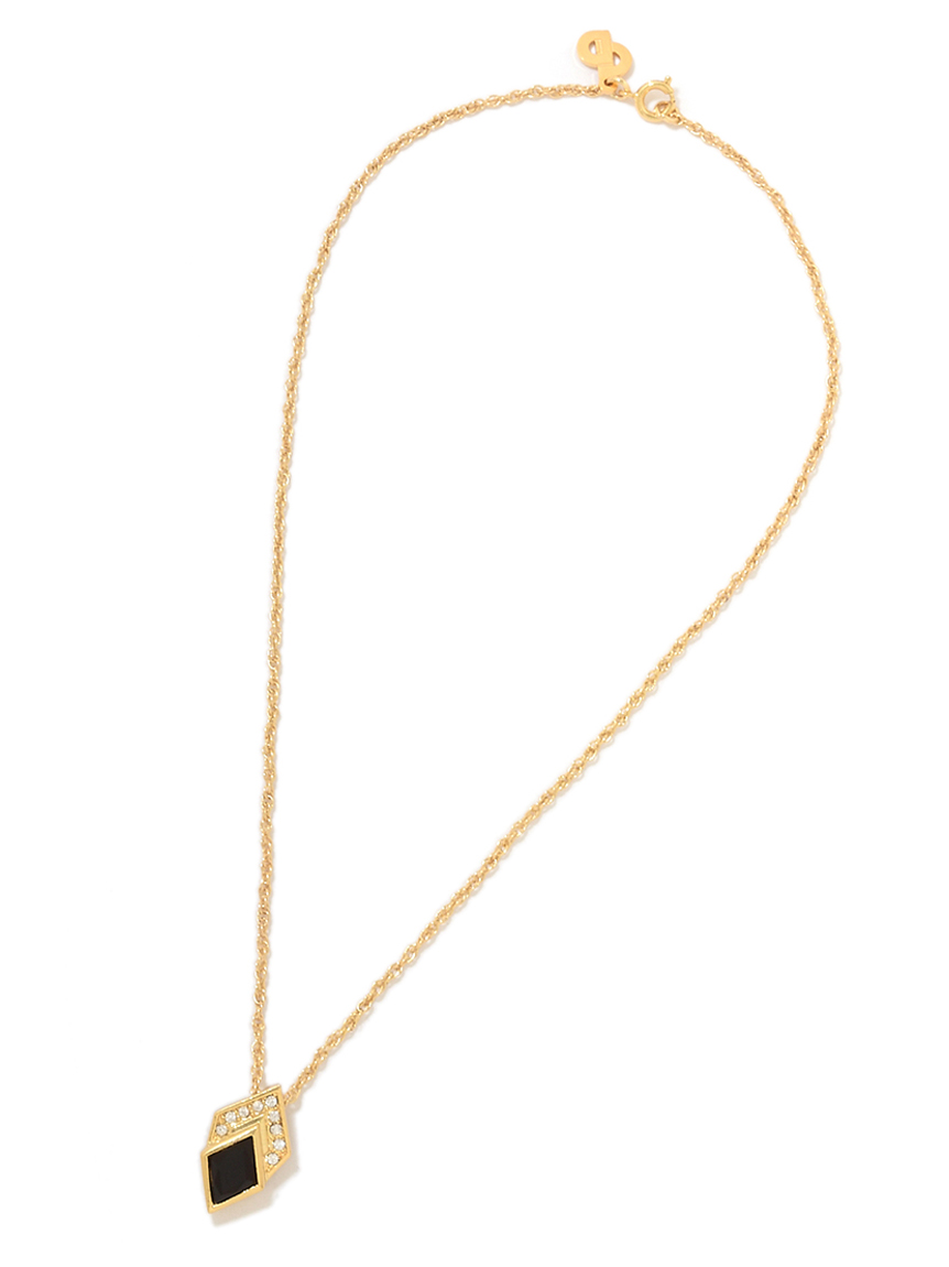 Christian Diorストーンブラックモチーフネックレス(--F)