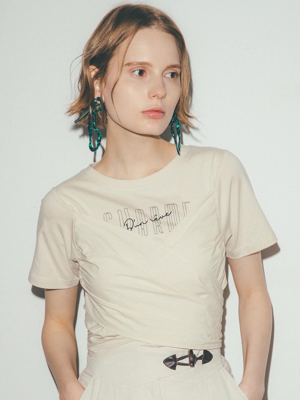 ビスチェドッキングロゴTシャツ(IVR-F)