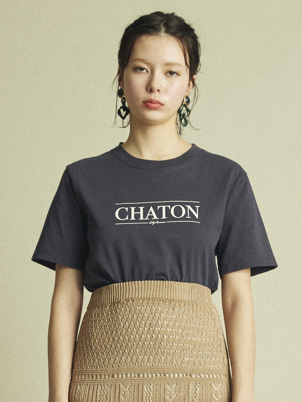 CHATONプリントTシャツ(NVY-F)