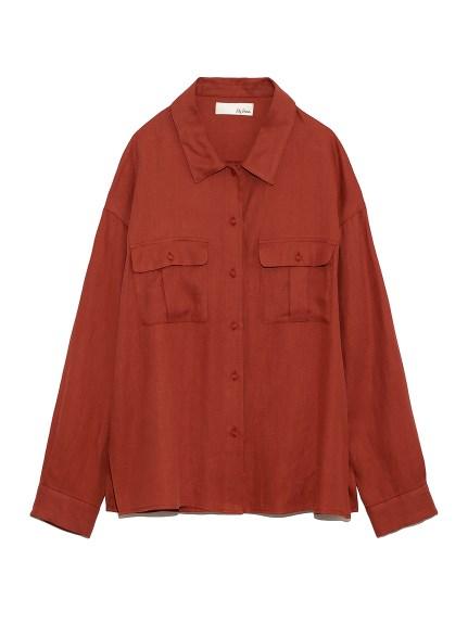 麻調シンプルシャツ