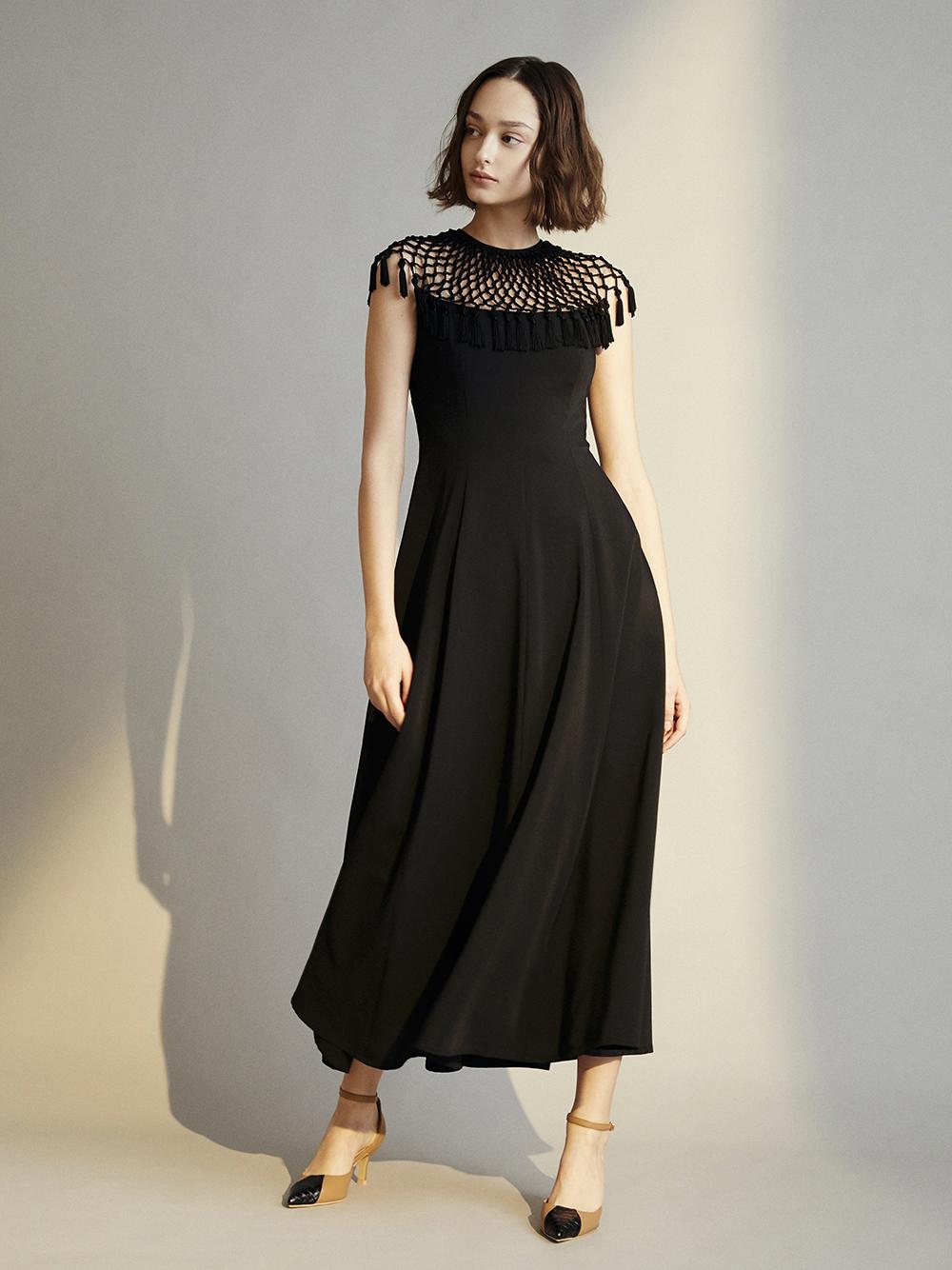 マクラメロングドレス