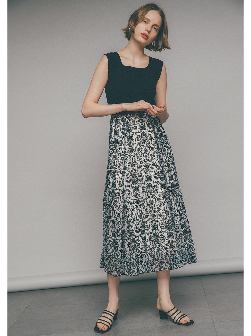 【限定】総刺繍カットドッキングワンピース(BLK-0)
