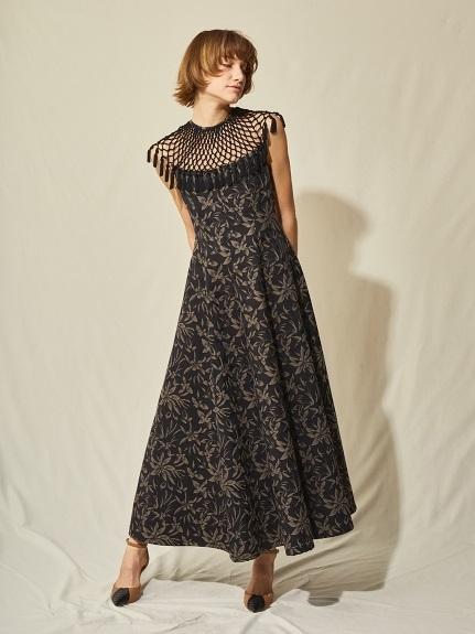 マクラメジャガードロングドレス