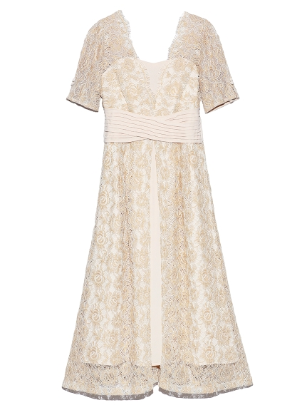 ウエストクロスラメレースドレス(YEL-0)