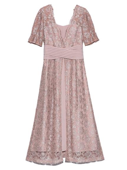 ウエストクロスラメレースドレス(PNK-0)