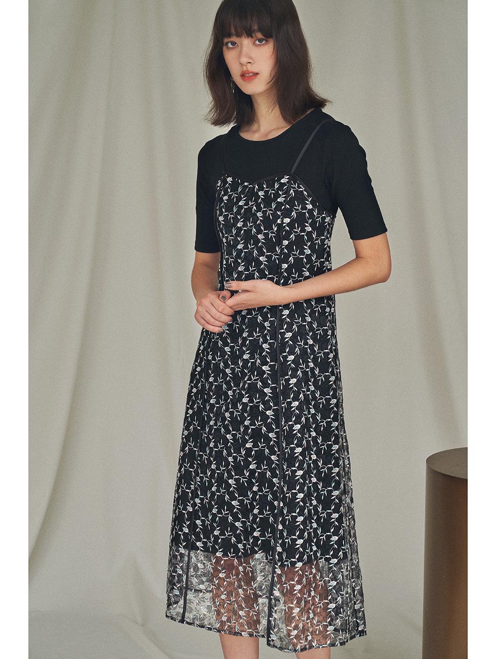 【オフィシャルオンラインストア限定】チュール刺繍キャミワンピセット(BLK-F)