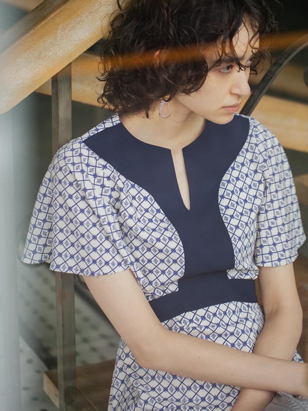 江戸切子柄ワンピース(BLU-F)
