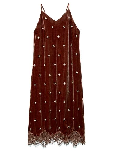 ベロア刺繍キャミワンピース(BRW-F)