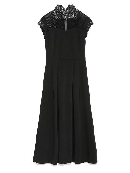 [L.B CANDY STOCK]フラワー刺繍ドレス(BLK-0)