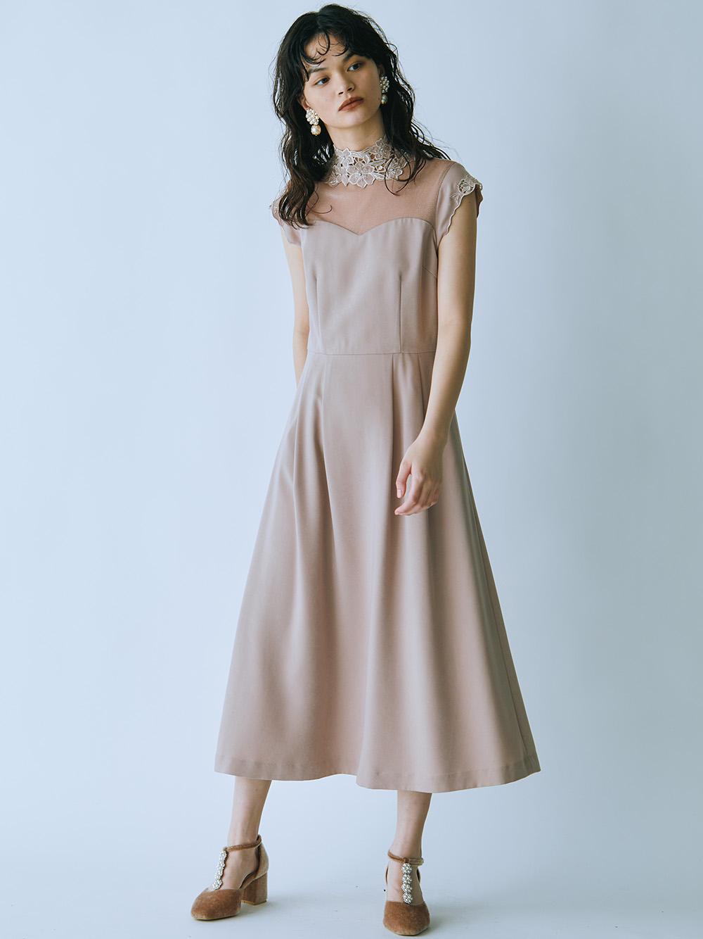 [L.B CANDY STOCK]フラワー刺繍ドレス(BEG-0)