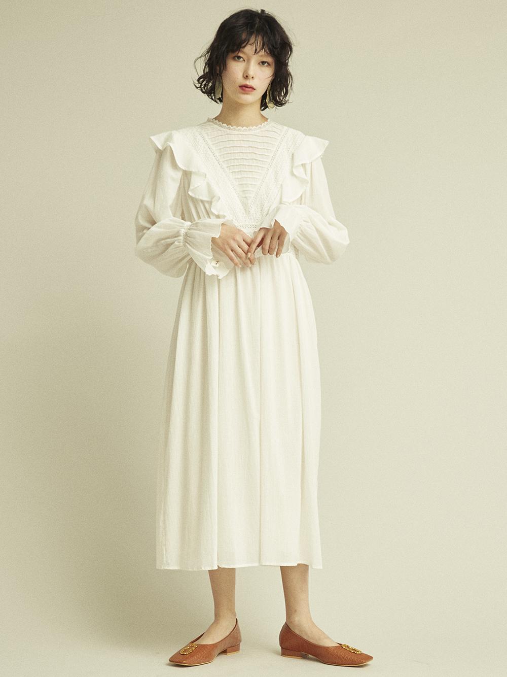 コットンフリルナイトドレス(OWHT-F)