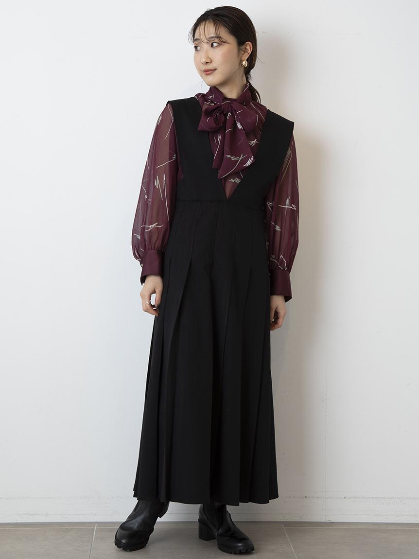 プリーツジャンパースカート(BLK-0)