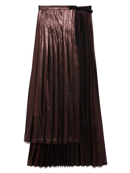ジャガードプリーツラップスカート