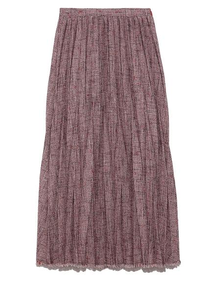 ツイードプリーツスカート(RED-F)
