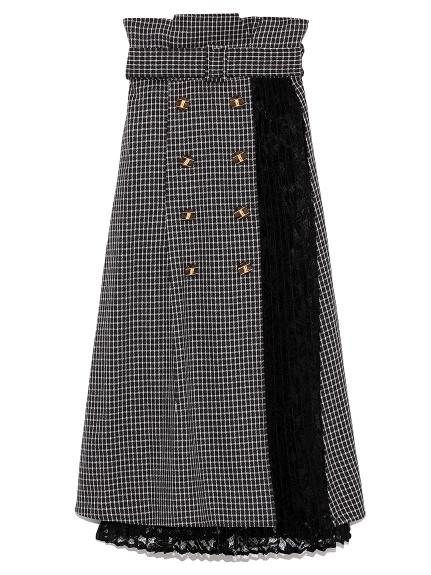 異素材切り替えスカート(BLK-F)