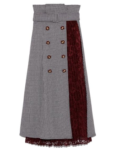 異素材切り替えスカート(WINE-F)