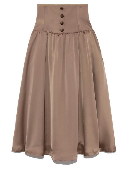 フロントボタンサテンスカート