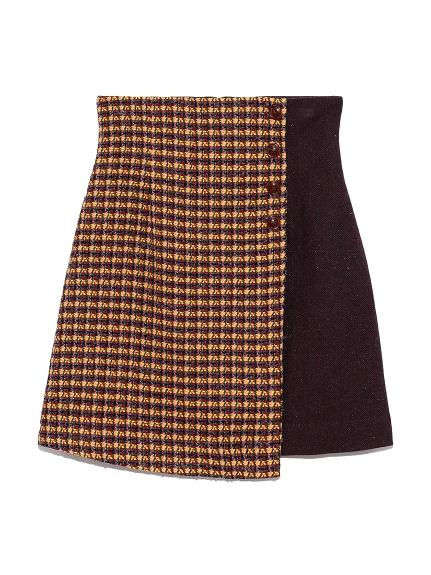 ツイードチェック台形スカート(YEL-0)