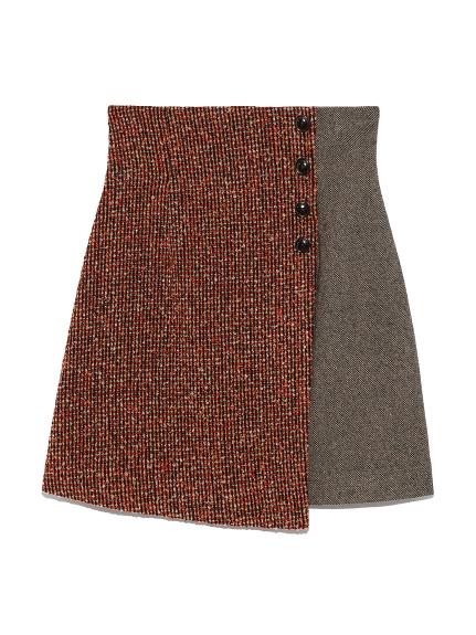 ツイードチェック台形スカート(RED-0)