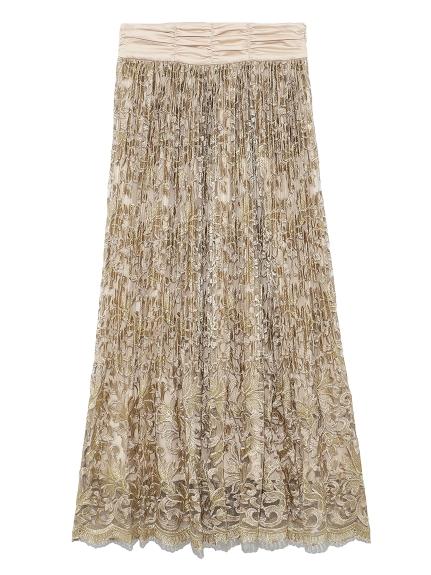 フラワー刺繍プリーツスカート