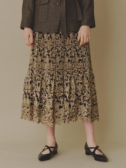 フラワー刺繍プリーツスカート(BLK-0)