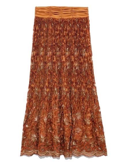 フラワー刺繍プリーツスカート(ORG-0)