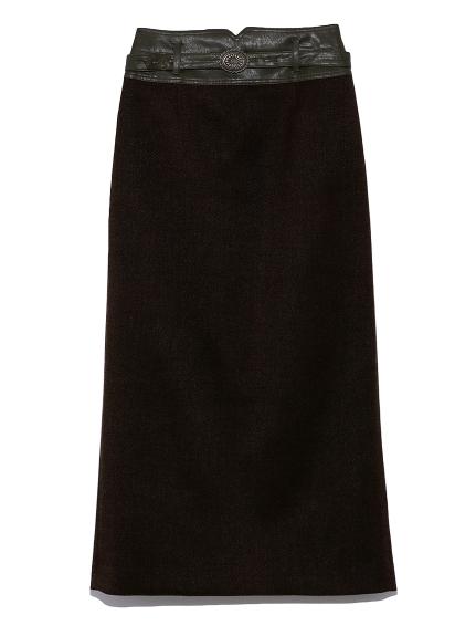 合皮切り替えタイトスカート