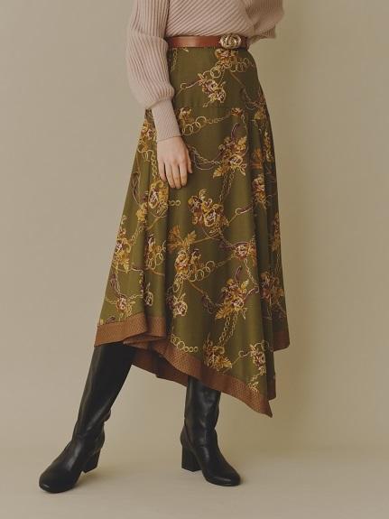 フラワーチェーン柄スカート