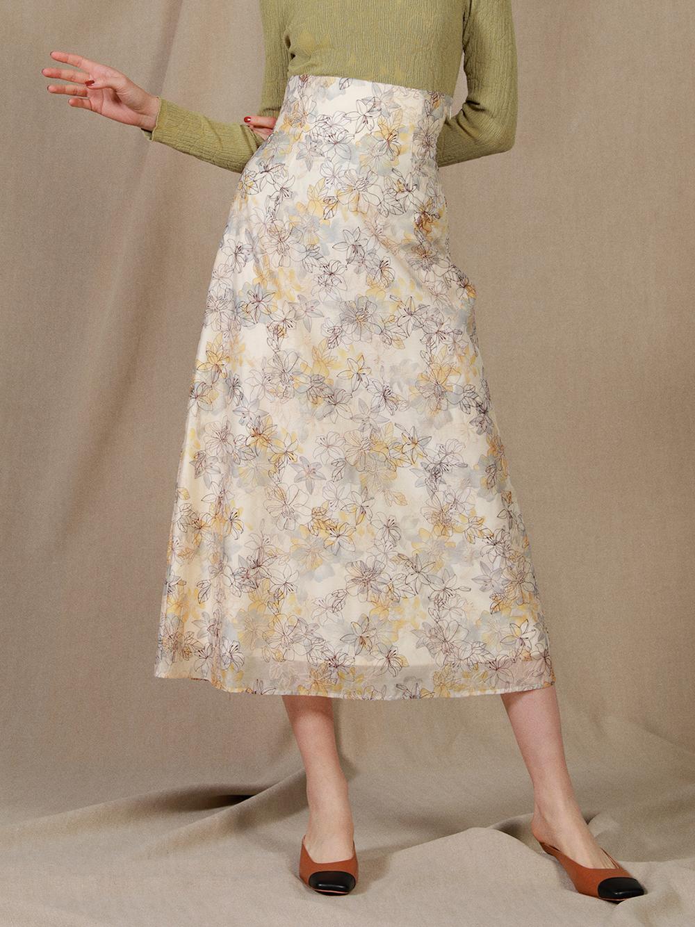 ぼかし花柄刺繍スカート(OWHT-0)
