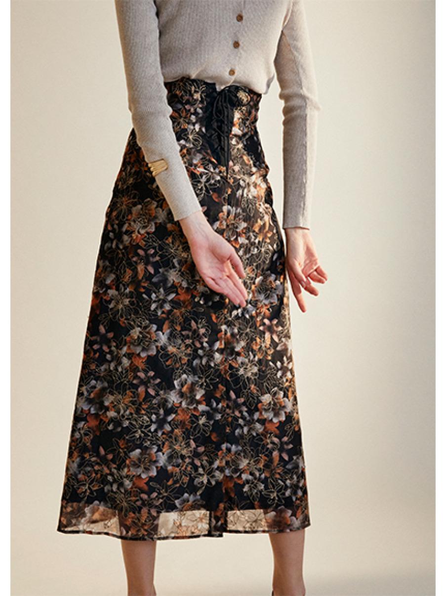 ぼかし花柄刺繍スカート(BLK-0)