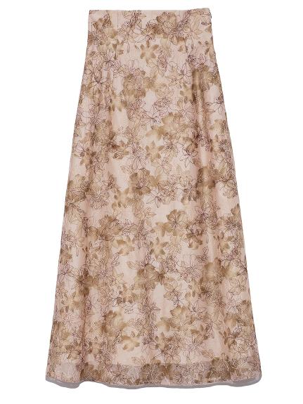 ぼかし花柄刺繍スカート(BEG-0)