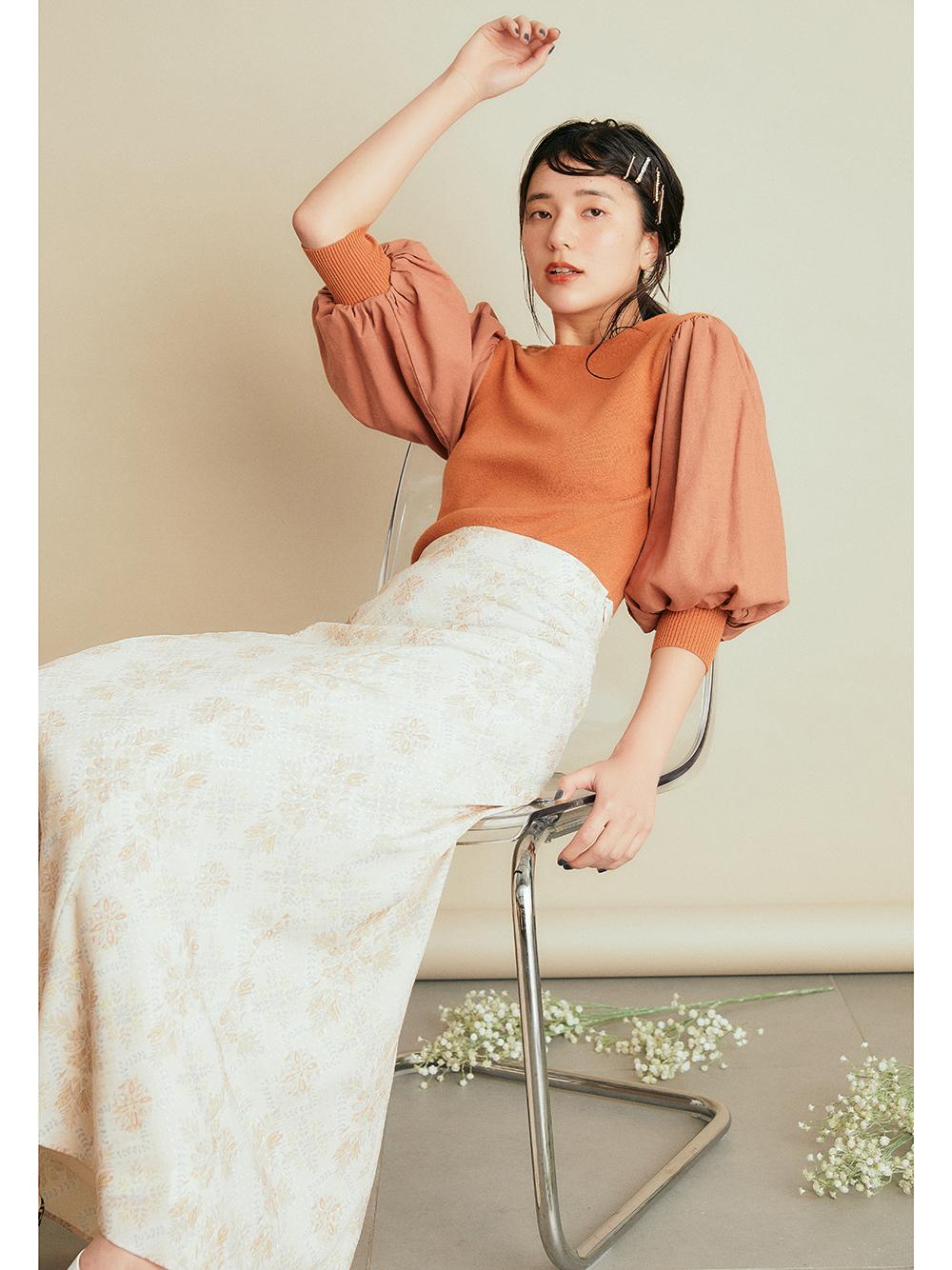 オリエンタル柄マーメイドスカート