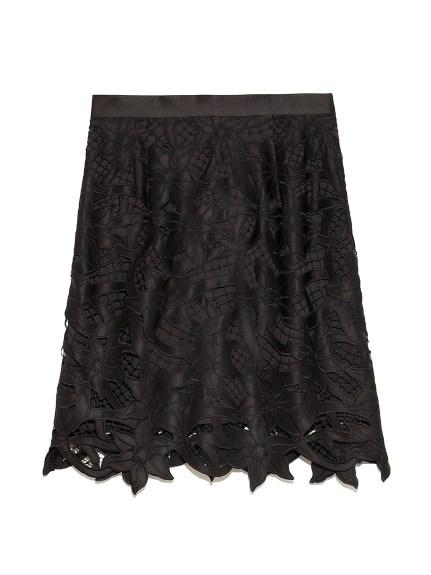 フラワー刺繍ミニスカート(BLK-0)