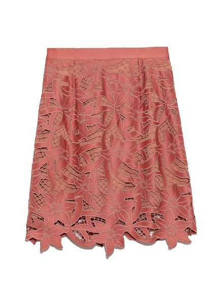 フラワー刺繍ミニスカート(PNK-0)