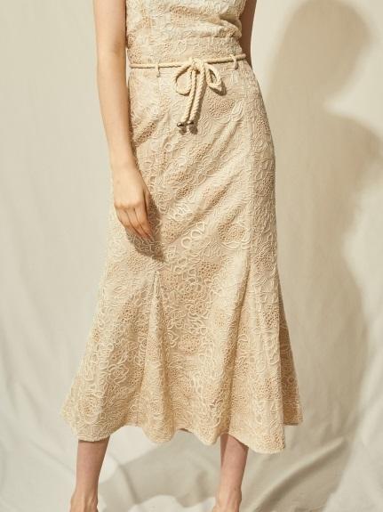 刺繍レースマーメイドスカート